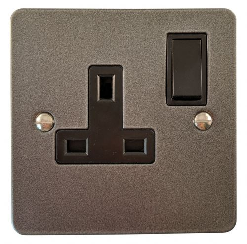 G&H FP9B Flat Plate Pewter 1 Gang Single 13A Switched Plug Socket